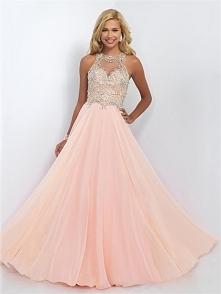 A-line Bateau Neckline Beaded Bodice Chiffon Prom Dress PD3168