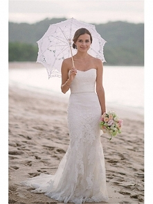 SHEALTH SWEETHEART FLOOR LENGTH SIMPLE BEACH WEDDING DRESS WITH LACE APPLIQUE dressbib.com