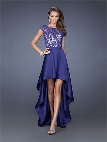 Lace Satin High Low Scoop Neckline Perfect 2014 Prom Dress PD2610