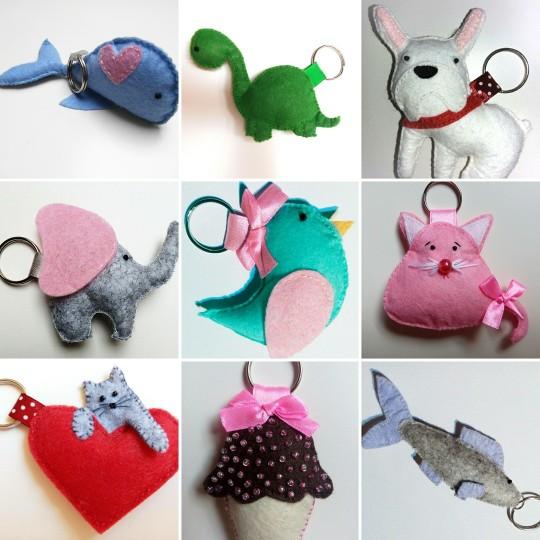 Ręcznie szyte breloczki do nabycia na fb: Moni Handmade