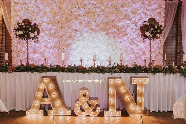 Modernistyczne Ścianka kwiatowa, panele kwiatowe,dekoracja stołu Pary Młodej XM28