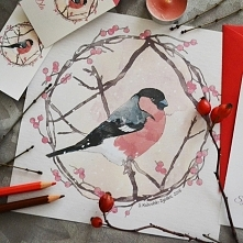 Gil w zimowym wydaniu. Jeden z trzech wzorów świątecznych kartek, które przygotowałam na licytację charytatywną. Pozostałe ptaki z serii możecie zobaczyć na crumble-90.tumblr.co...
