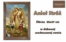 Obraz Anioła Stróża w dębowej woskowanej ramie.  Wspaniały prezent na Chrzest, Komunię lub Bierzmowanie.   Zobaczcie inne nasze obrazy w dębowych ramach na naszym Allegro (użytk...