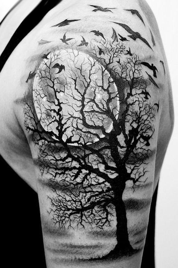 Księżyc I Drzewo Na Tatuaże Zszywkapl