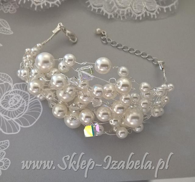 bransoletka perełki kryształki
