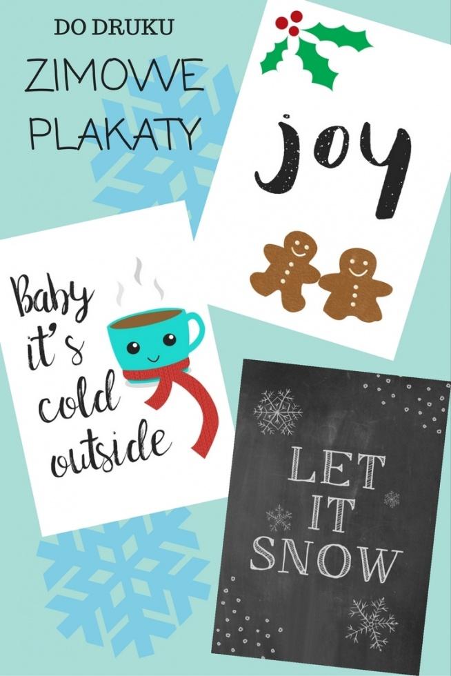 Zimowe świąteczne Plakaty Do Druku Na Diy Zszywkapl