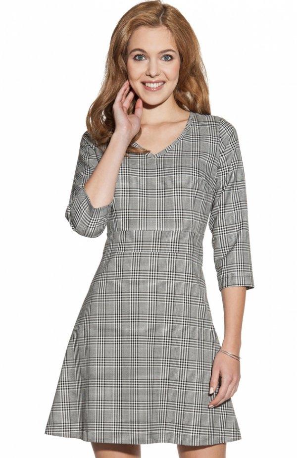 Ambigante ASU0040 sukienka kratka Elegancka sukienka, wykonana z żakardowego materiału w kratę, fason trapezowy