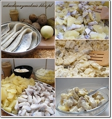 SAŁATKA ŚLEDZIOWA Z ZIEMNIAKAMI I OGÓRKAMI KISZONYMI Składniki: 50 dag śledzi matjasów 70 dag ziemniaków + ¾ łyżki soli 30 dag ogórków kiszonych 1 cebula (8 dag) 4 łyżki majonez...