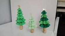 papierowe choinki, świąteczne dekoracje