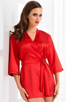 Irall Aria szlafrok czerwony Elegancka bielizna nocna, krotki szlafrok, wykonany z delikatnej, włoskiej satyny
