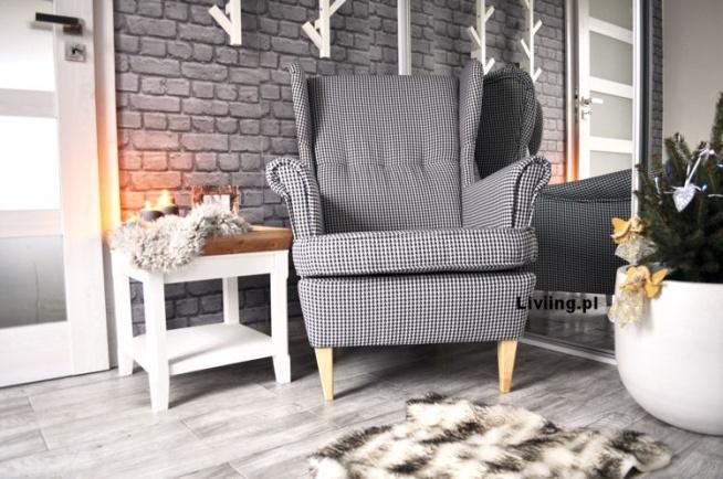 Duży, wygodny fotel uszak, modna tkanina pepitka, liiving.pl
