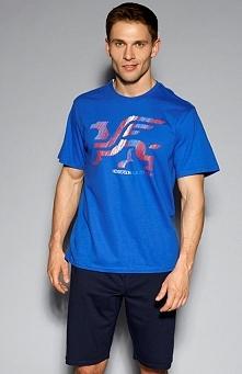 Henderson Hertz 33090-55X piżama Komfortowa dwuczęściowa piżama męska, t-shirt z krótkim rękawem, z przodu ozdobny nadruk z logiem producenta