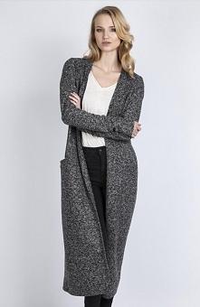Lanti SWE110 sweter grafitowy Elegancki długi płaszcz, wykonany z miekkiej dz...