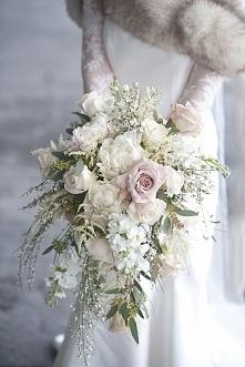 zimowy piękny bukiet ślubny :)