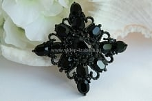 czarna biżuteria, broszka