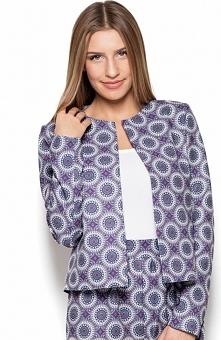 Katrus K427 żakiet Elegancki żakiet, wykonany z pięknej wzorzystej tkaniny, krótszy fason, niezapinany