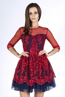 Czerwona sukienka z siatecz...