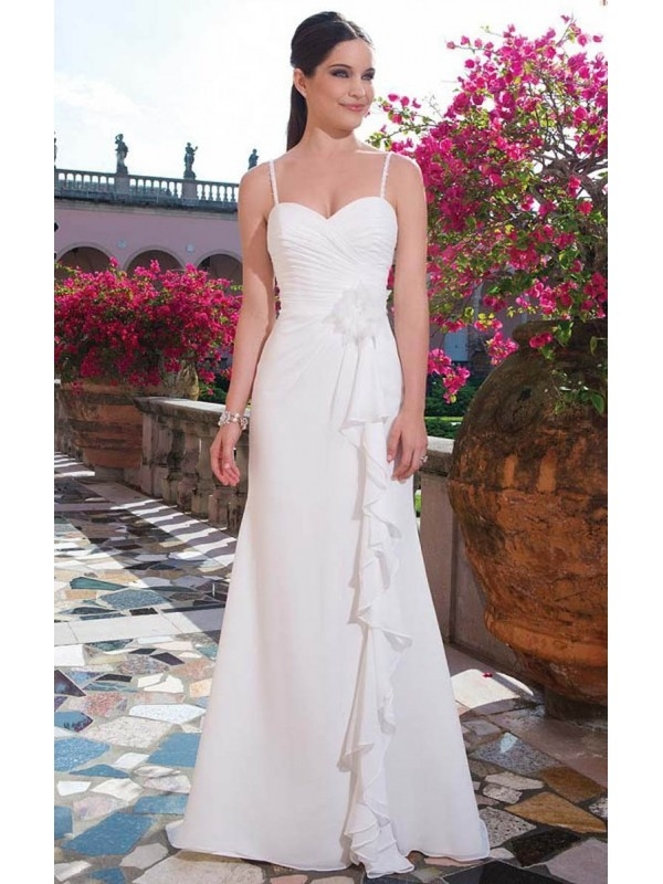 2015 NEW ARRIVAL SPAGHETTI STRAPS A-LINE RUCHING SWEEP/BRUSH TRAIN CHIFFON WEDDING DRESSES
