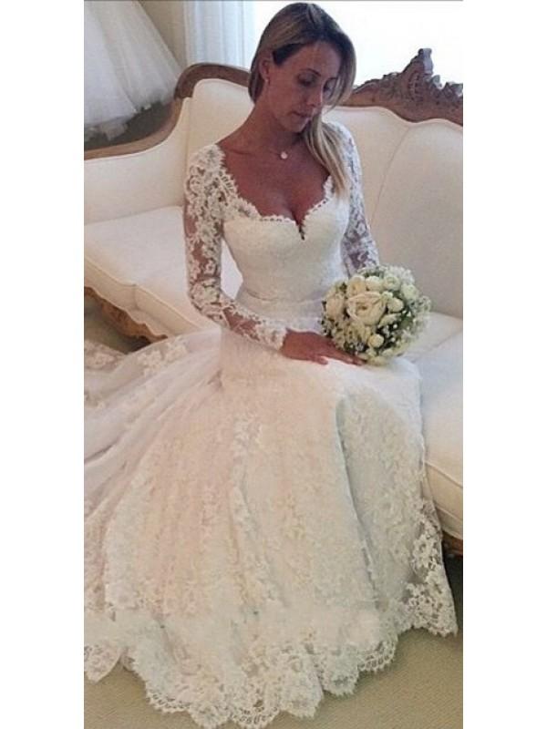 2016 LONG SLEEVE FULL LACE WEDDING DRESS dressbib.com