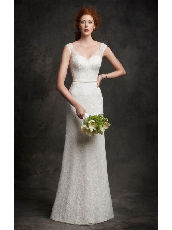 2016 BEAUTIFUL LACE V-NECK A-LINE FLOOR-LENGTH SATIN SASH/BELT/ROBBIN WEDDING DRESSES dressbib.com
