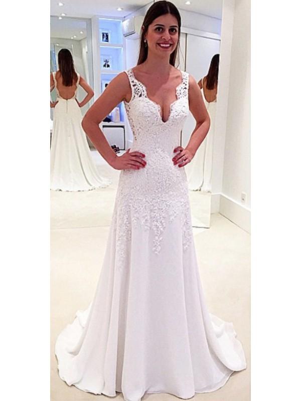 A LINE V NECK BACKLESS LACE WEDDING DRESS dressbib.com