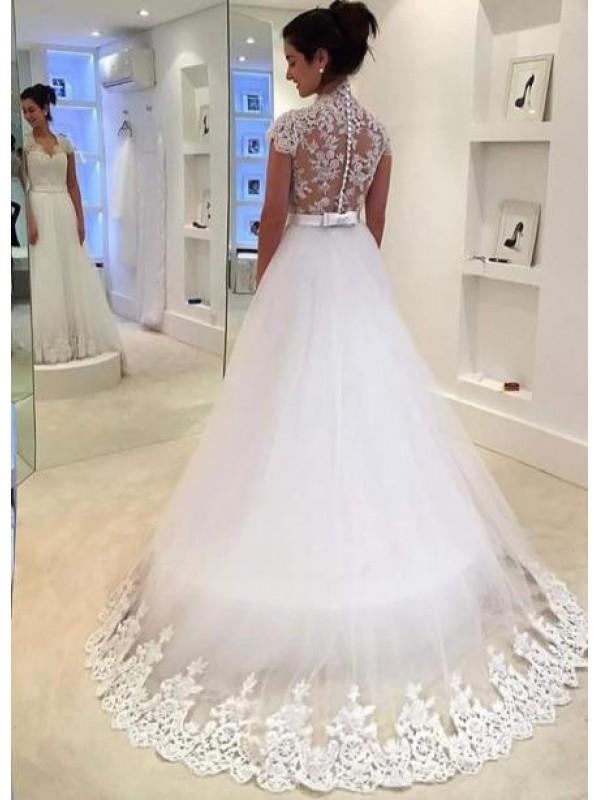 A LINE V NECK BUTTON BACK CAP SLEEVE LACE BEACH WEDDING DRESS dressbib.com