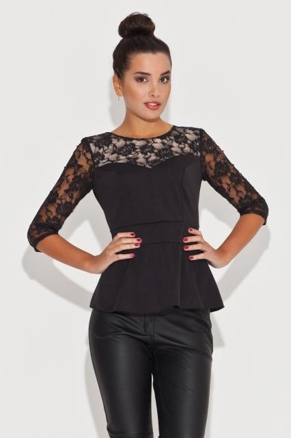 Przepiękna i nietypowa bluzka z baskinką i koronką. Idealna na imprezę oraz jako bluzka wieczorowa.