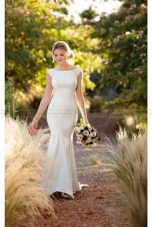 Essense of Australia Modern Column Wedding Dress With Lace Side Cut-Outs Styl...
