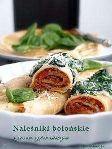 Naleśniki bolońskie z sosem szpinakowym. Źródło: zjemto.blox.pl