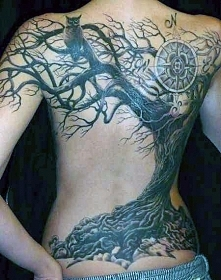 back tattoo tree 3d