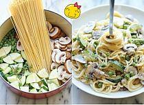 obiad w 20 minut: biad JEDNOGARNKOWY w 20 min!!! Składniki: spaghetti , pieczarki (pokrojone w cienkie plasterki), 2 cukinie (pokrojone w cienkie plasterki i ćwiartki), 2/3 szklanki groszku, 2 ząbki czosnku, 2 gałązki tymianku, sól i świeżo zmielony czarny pieprz do smaku, 1/3 szklanki startego parmezanu, 1/4 szklanki śmietany kremówki. W garnku na średnim ogniu, połączyć spaghetti, pieczarki, cukinię, groszek, czosnek, tymianek i 4,5 szklanki wody. Doprawić solą i pieprzem do smaku. Doprowadzić do wrzenia; zmniejszyć ogień i gotować bez przykrycia, aż makaron będzie miękki a woda odparuje...Wymieszać z parmezanem i śmietaną kremówką. Podawać natychmiast.