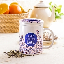 Kubek ceramiczny z zaparzaczem CUDOWNA BABCIA 300 ml