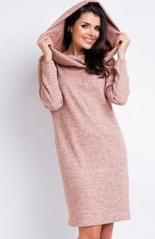 Awama A161 sukienka różowa Rewelacyjna sukienka, wykonana z przyjemnej melanżowej dzianiny, prosty fason, góra z kapturem
