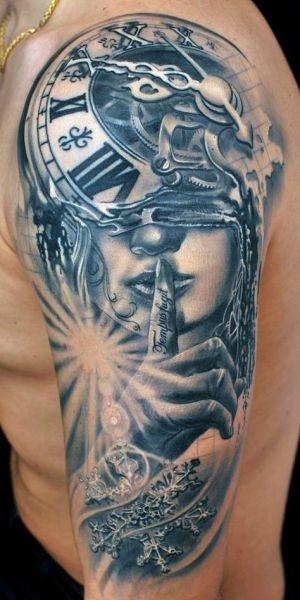Tatuaże 3d Zegar I Kobieta Na Tatuaże Zszywkapl