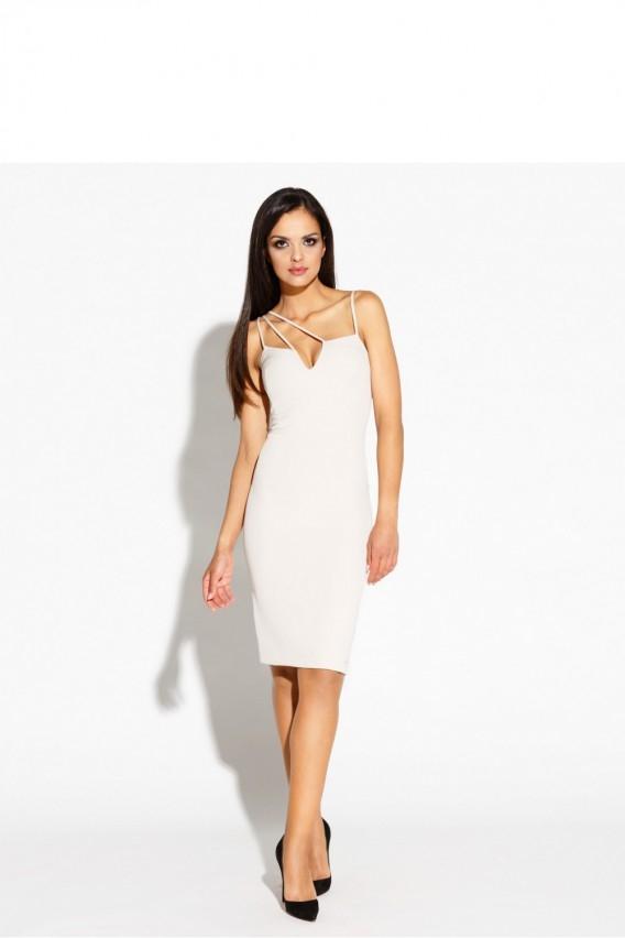 Biała sukienka z oryginalnym dekoltem i suwakiem z tylu, więcej po kliknięciu w zdjęcie :)