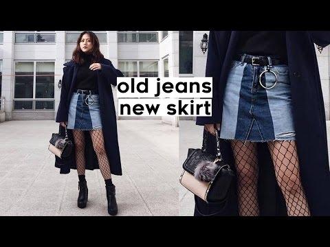 ✂️DIY Old Jeans to Color Blocked Denim Skirt | Qformation EP.1