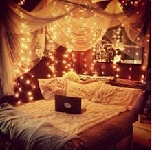 Bedroom with fairy lights <3