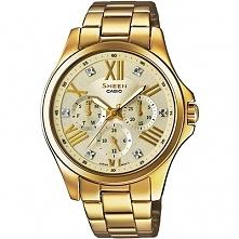 Złoty damski zegarek Casio SHE-3806GD-9AUER na bransolecie wysadzany kamieniami Swarovskiego Możliwość zakupu, link w komentarzu :)