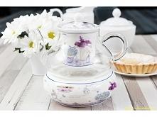 Dzbanek z zaparzaczem i podgrzewaczem, idealny do parzenia ulubionej herbaty.