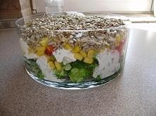 Sałatka warstwowa z brokułem i słonecznikiem  Składniki:  1 brokuł o wadze 50...