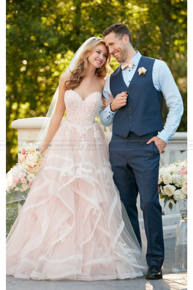 Stella York Pink Floral Lace Wedding Dress With Textured Skirt Style 6432
