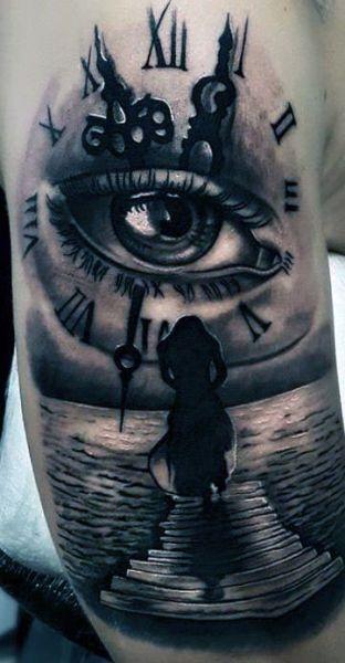 Tatuaże 3d Zegar I Oko Na Tatuaże Zszywkapl