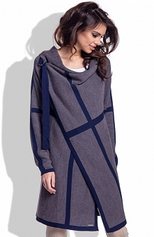 Fobya F210 sweter granatowy Elegancka propozycja na chłodne dni, długi rękaw, modne zestawienie kolorystyczne