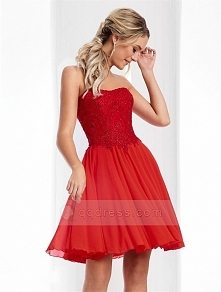 A-line Strapless Lace Up Back Beaded Bodice Ruffled Chiffon Short Prom Dress