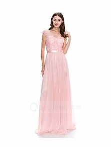 Chiffon A-line Cap Straps Beaded Appliqued Long Prom Dress with Satin Sash