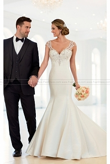Stella York Cap Sleeve Trumpet Wedding Dress With Beaded Illusion Back Style 6451