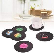 Idealny gadżet dla miłośników muzyki- podkładki na stół w kształcie płyt winylowych