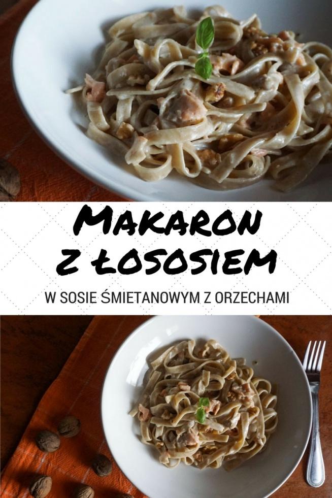 Przepis na pyszny makaron z łososiem w sosie śmietanowym z orzechami Szybki pomysł na obiad :)