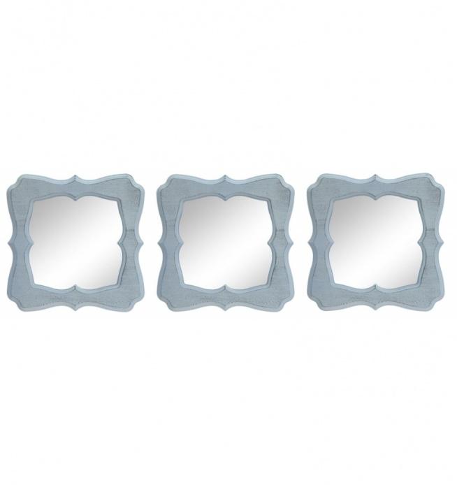 Lustro wiszące przecierane w kolorze białym  - 3 częściowe w ramie. Wyjątkowy komplet do powieszenia na ścianie. Rama mdf + tworzywo.  Piękny zestaw do Twojej łazienki, jako lustra na korytarz, do pokoju dziecięcego lub do sypialni.  Cena dotyczy całego zestawu 3 szt