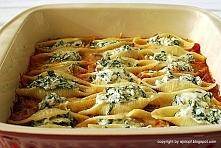 makaron muszle z serem ricotta i szpinakiem